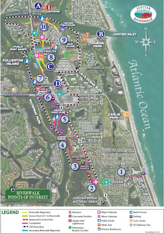 Map Of Florida Showing Jupiter.Riverwalk Map Points Of Interest Jupiter Fl Official Website
