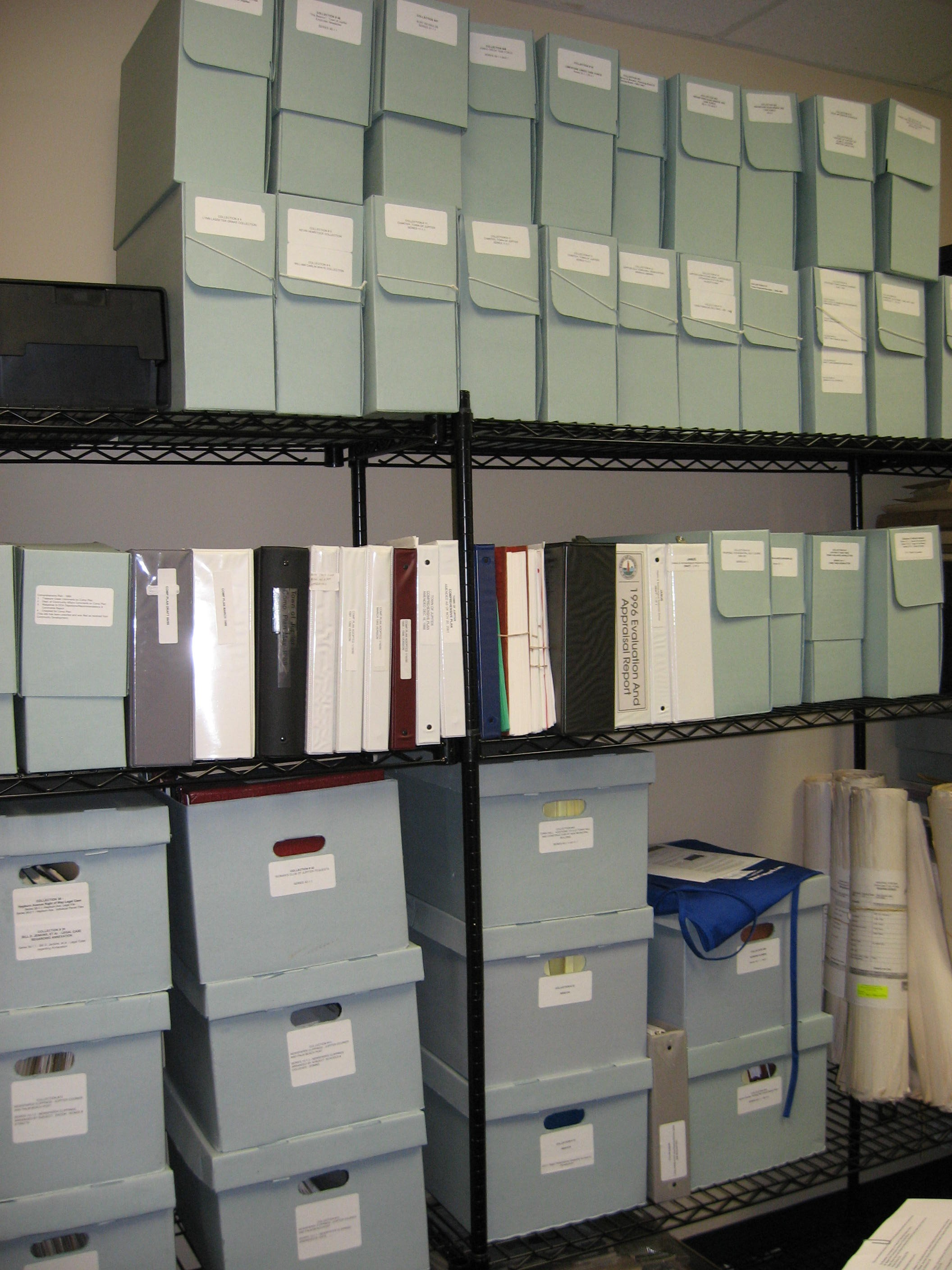 Archives document boxes