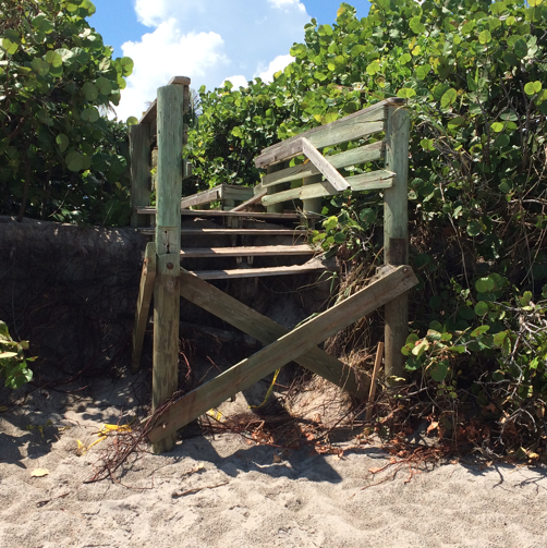 picture of destroyed beach access point number 45 due to beach erosion