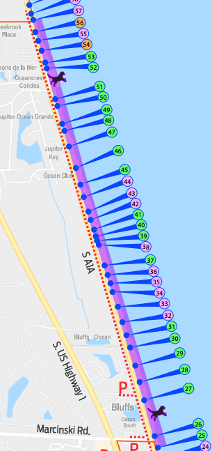 Map showing that between beach marker 25 and 57 is 2.5 miles of dog friendly beach area Opens in new window