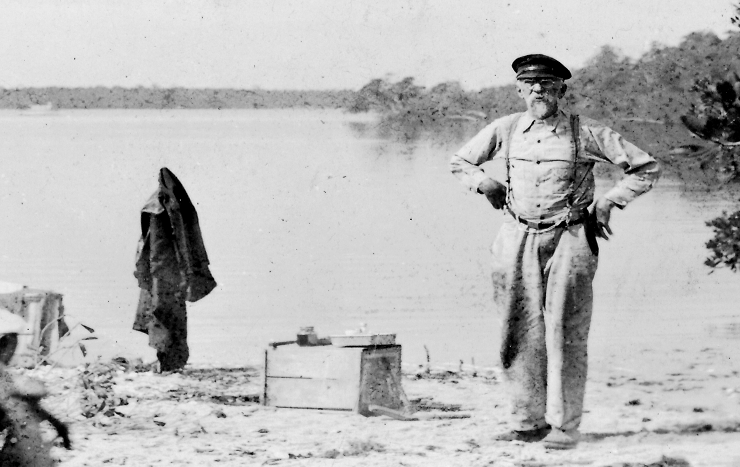 Charles H. Coe At oyster roast on pecks lake Stuar